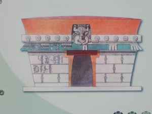 Rendering, west facade, Temple of the Descending God at Tulum depicting the painted lime plaster render typical of Mayan edifices.