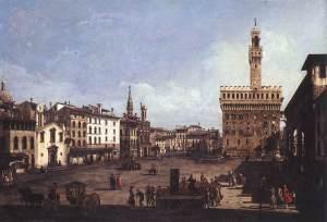 The Piazza della Signoria in Florence Bernardo Bellotto, c.1742 Oil on canvas. Szépművészeti Múzeum, Budapest, Hungary
