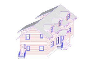 Santa Cruz Style concept house: a Net-Zero Energy home can be both contextual and high performance.