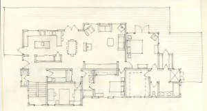 An east-west oriented, axial arrangement of rooms. Design sketch, Sun & Sky House, Santa Cruz Mountains.