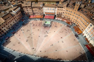 Looking down on the Piazza Del Campo from the Torre del Mangia