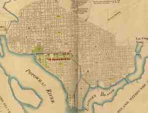 1791 L'Enfant Plan for the City of Washington. The Washington Mall (green) was the symbolic heart of the L'Enfant plan for the capital, connection Capitol Building, Washington Monument, and President's House.